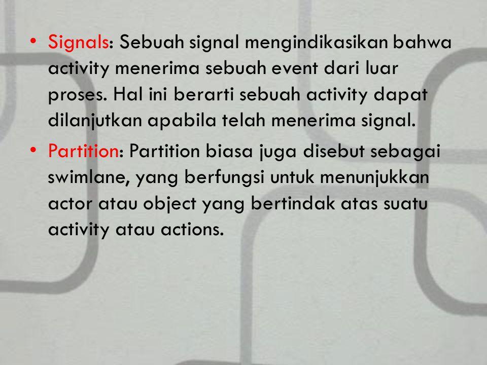 Signals: Sebuah signal mengindikasikan bahwa activity menerima sebuah event dari luar proses. Hal ini berarti sebuah activity dapat dilanjutkan apabila telah menerima signal.