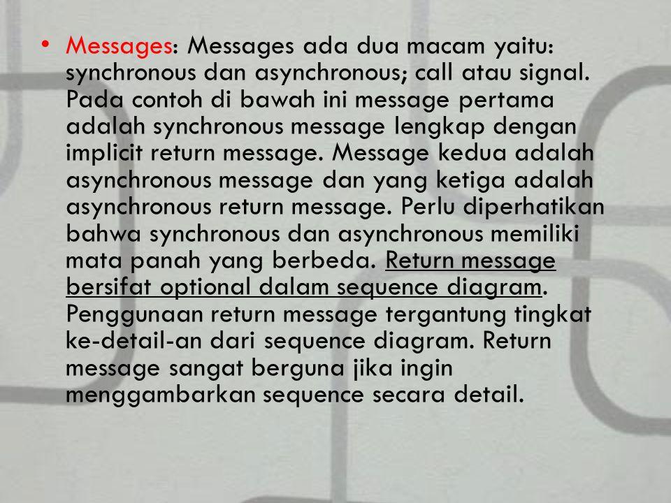 Messages: Messages ada dua macam yaitu: synchronous dan asynchronous; call atau signal.