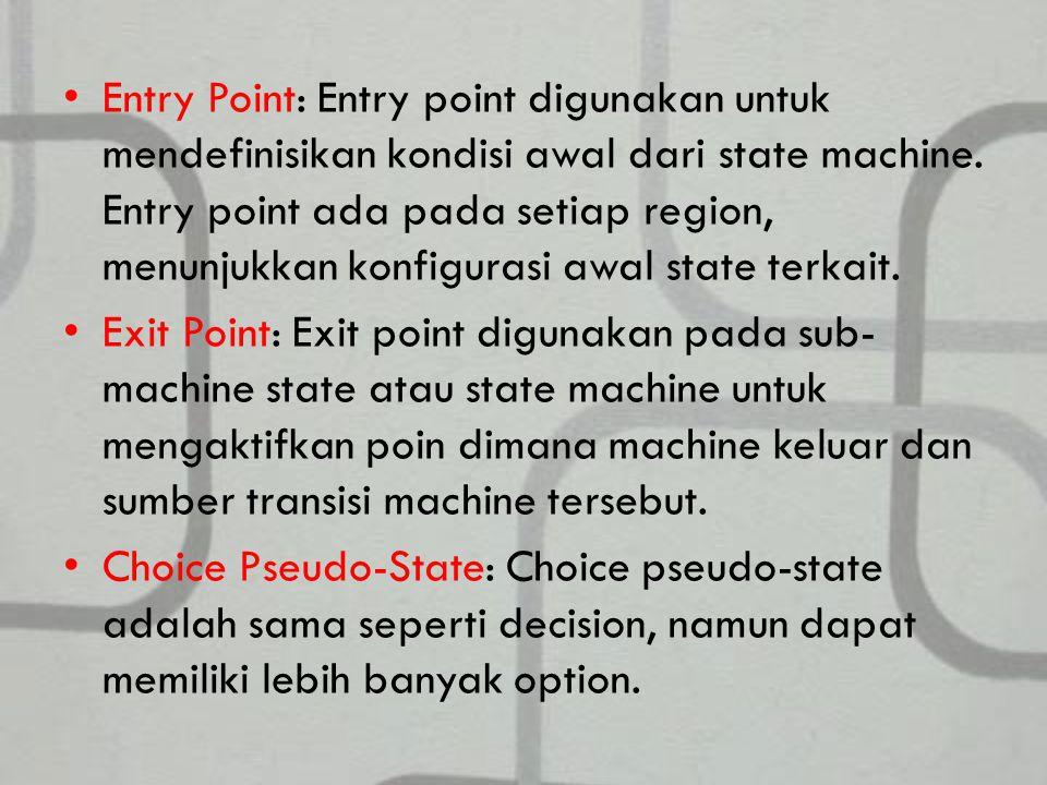 Entry Point: Entry point digunakan untuk mendefinisikan kondisi awal dari state machine. Entry point ada pada setiap region, menunjukkan konfigurasi awal state terkait.