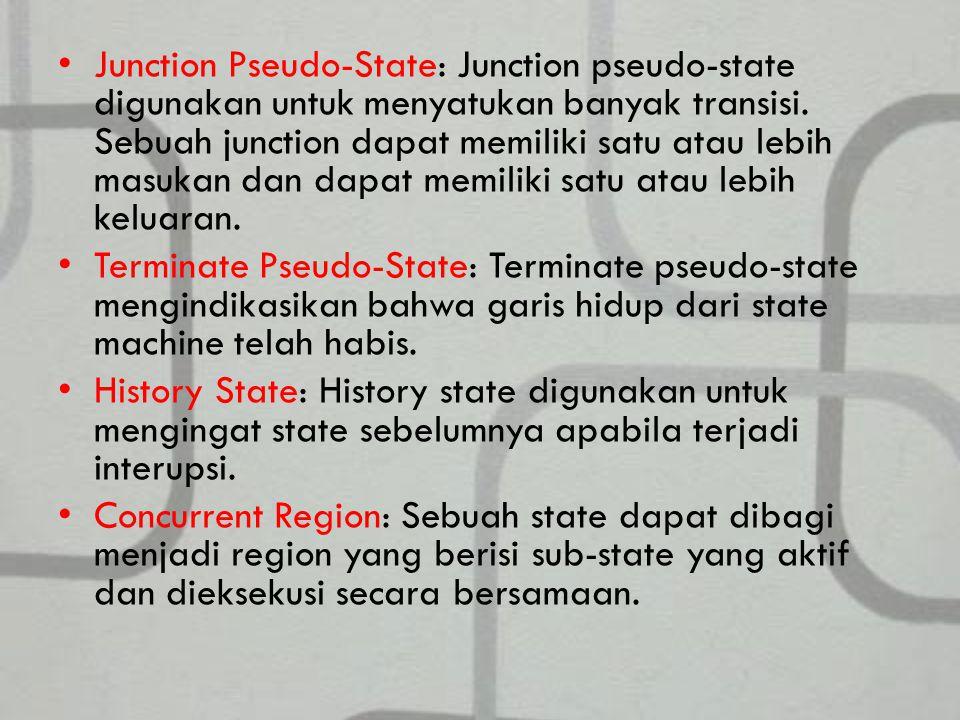 Junction Pseudo-State: Junction pseudo-state digunakan untuk menyatukan banyak transisi. Sebuah junction dapat memiliki satu atau lebih masukan dan dapat memiliki satu atau lebih keluaran.