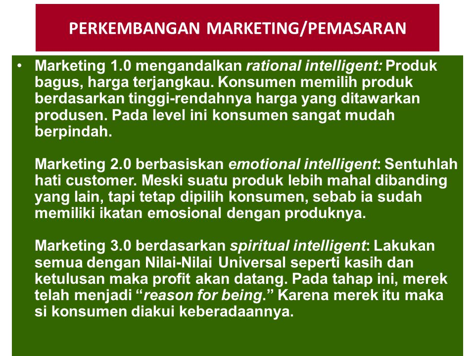 PERKEMBANGAN MARKETING/PEMASARAN