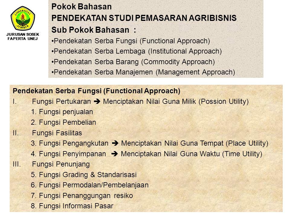 PENDEKATAN STUDI PEMASARAN AGRIBISNIS Sub Pokok Bahasan :