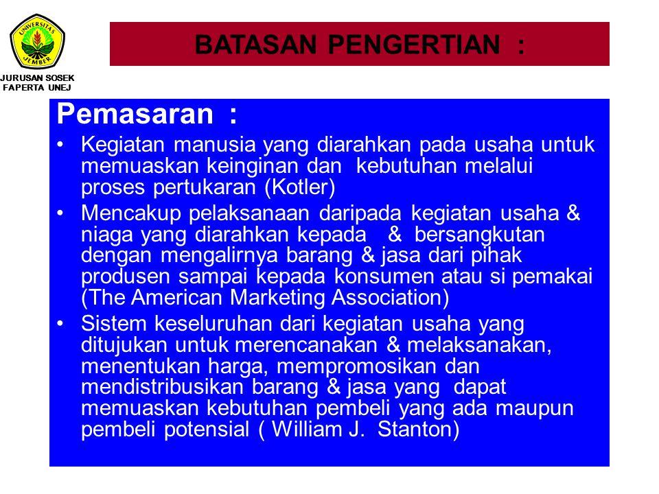 Pemasaran : BATASAN PENGERTIAN :