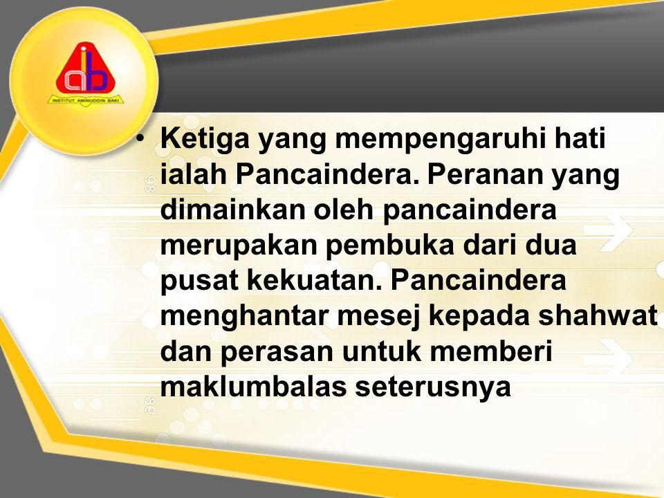 Ketiga yang mempengaruhi hati ialah Pancaindera