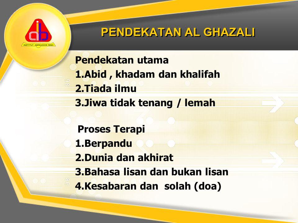PENDEKATAN AL GHAZALI Pendekatan utama Abid , khadam dan khalifah