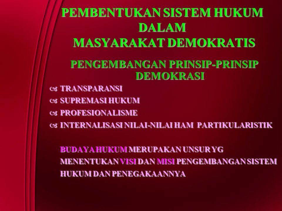PEMBENTUKAN SISTEM HUKUM DALAM MASYARAKAT DEMOKRATIS