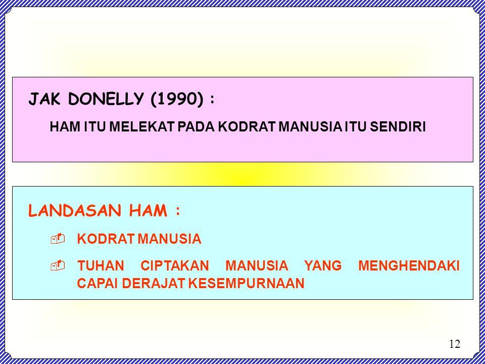 JAK DONELLY (1990) : LANDASAN HAM :