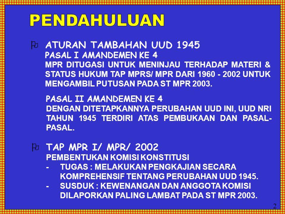 PENDAHULUAN  ATURAN TAMBAHAN UUD 1945  TAP MPR I/ MPR/ 2002