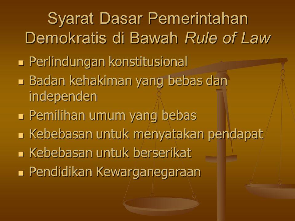 Syarat Dasar Pemerintahan Demokratis di Bawah Rule of Law