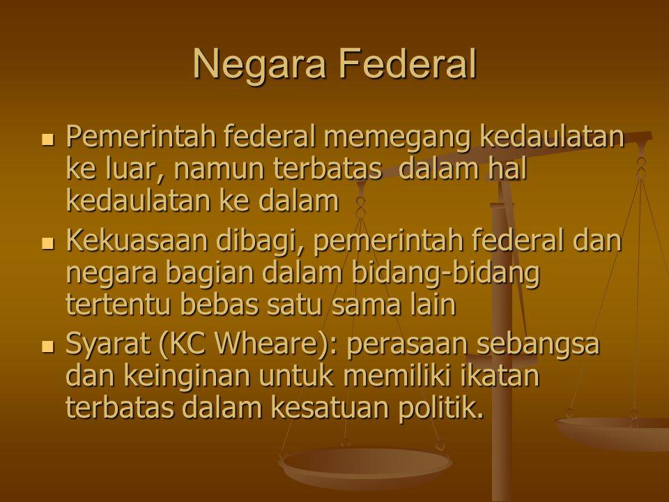 Negara Federal Pemerintah federal memegang kedaulatan ke luar, namun terbatas dalam hal kedaulatan ke dalam.