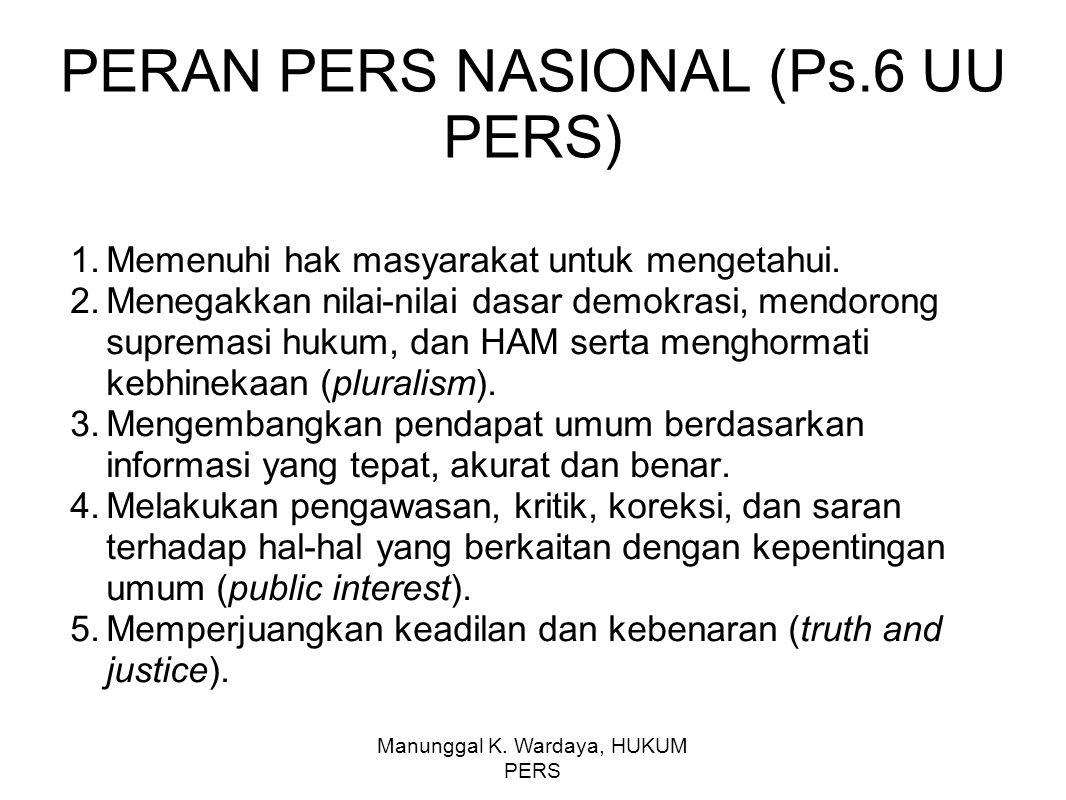 PERAN PERS NASIONAL (Ps.6 UU PERS)