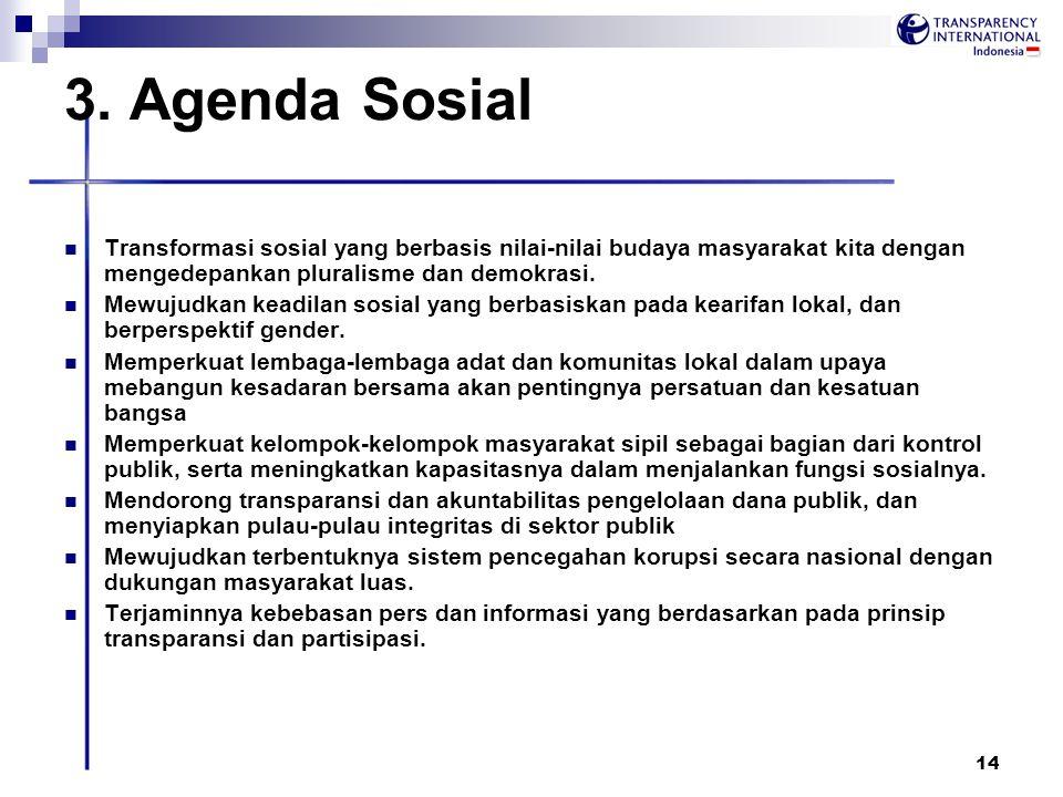 3. Agenda Sosial Transformasi sosial yang berbasis nilai-nilai budaya masyarakat kita dengan mengedepankan pluralisme dan demokrasi.