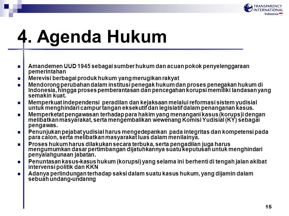 4. Agenda Hukum Amandemen UUD 1945 sebagai sumber hukum dan acuan pokok penyelenggaraan pemerintahan.