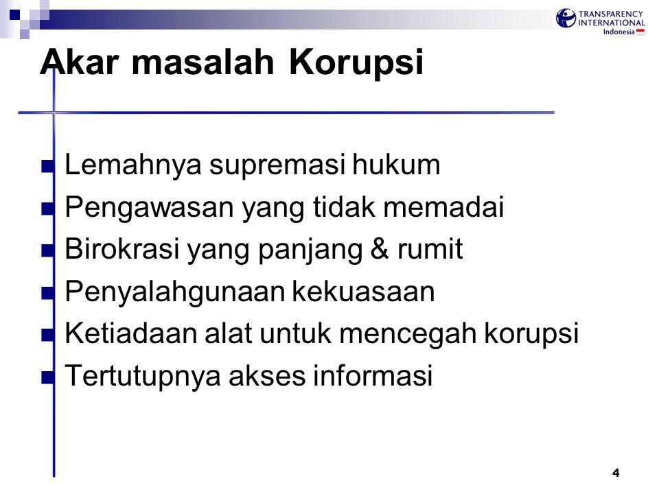 Akar masalah Korupsi Lemahnya supremasi hukum