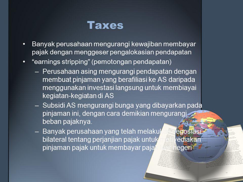 Taxes Banyak perusahaan mengurangi kewajiban membayar pajak dengan menggeser pengalokasian pendapatan.