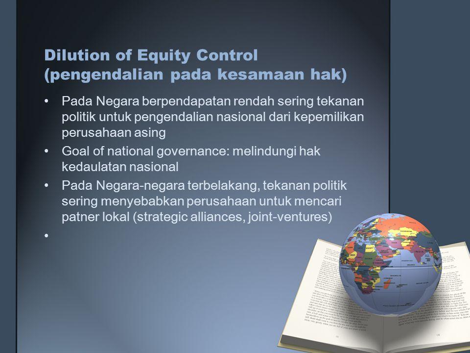 Dilution of Equity Control (pengendalian pada kesamaan hak)