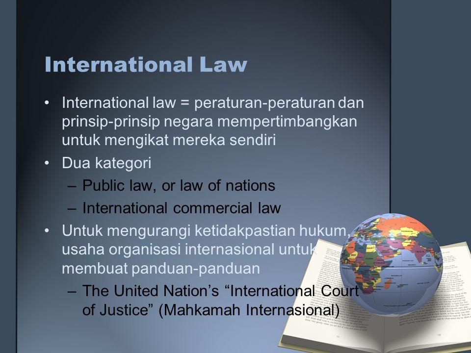 International Law International law = peraturan-peraturan dan prinsip-prinsip negara mempertimbangkan untuk mengikat mereka sendiri.