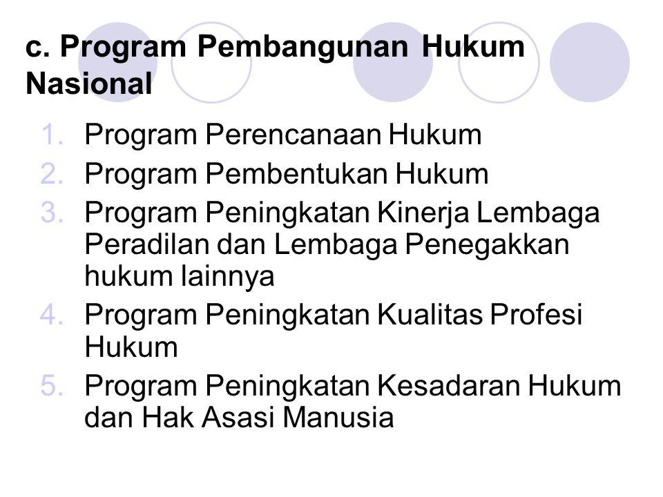 c. Program Pembangunan Hukum Nasional