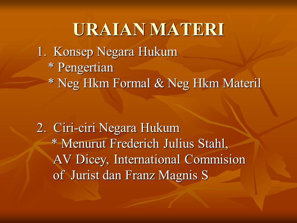 URAIAN MATERI 1. Konsep Negara Hukum * Pengertian