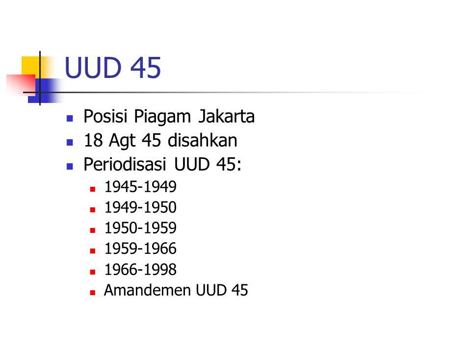 UUD 45 Posisi Piagam Jakarta 18 Agt 45 disahkan Periodisasi UUD 45: