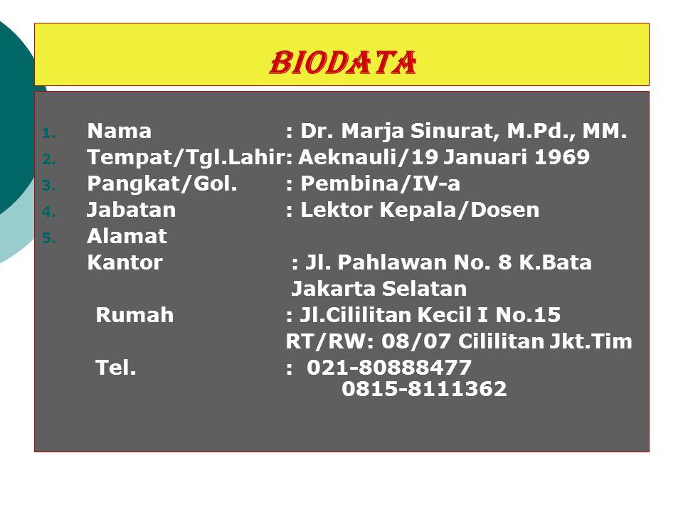 BIODATA Nama : Dr. Marja Sinurat, M.Pd., MM.