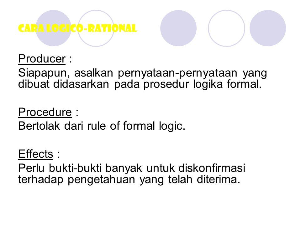 Bertolak dari rule of formal logic. Effects :