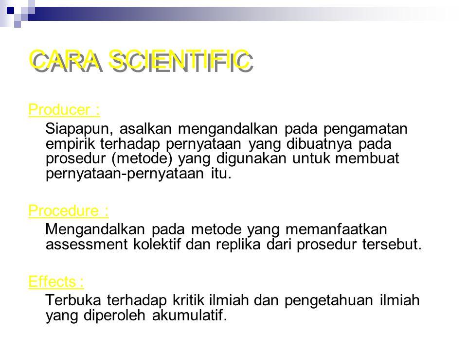CARA SCIENTIFIC Producer :