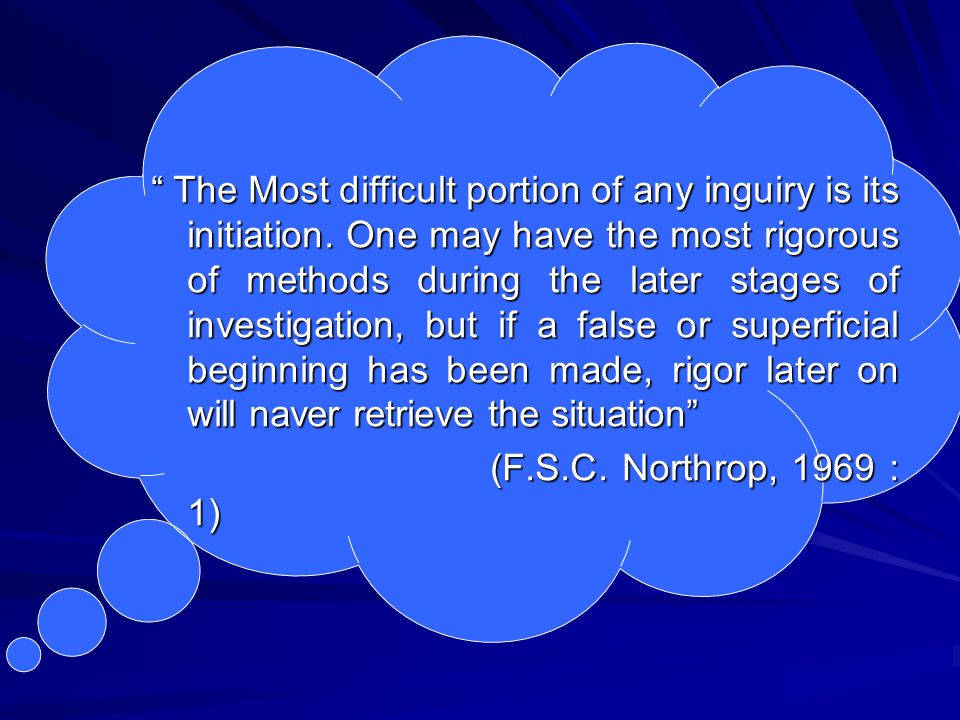The Most difficult portion of any inguiry is its initiation