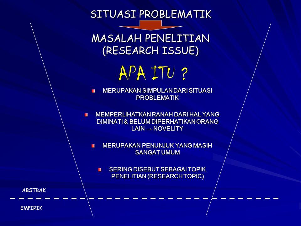 SITUASI PROBLEMATIK MASALAH PENELITIAN (RESEARCH ISSUE)