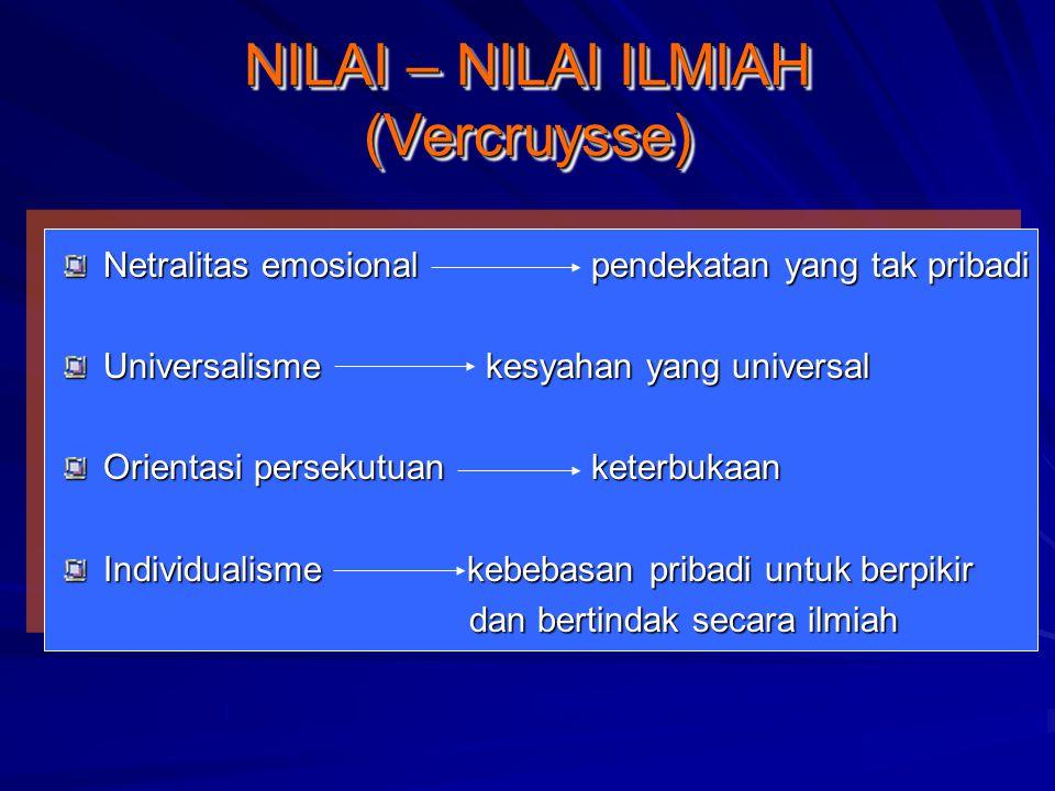 NILAI – NILAI ILMIAH (Vercruysse)