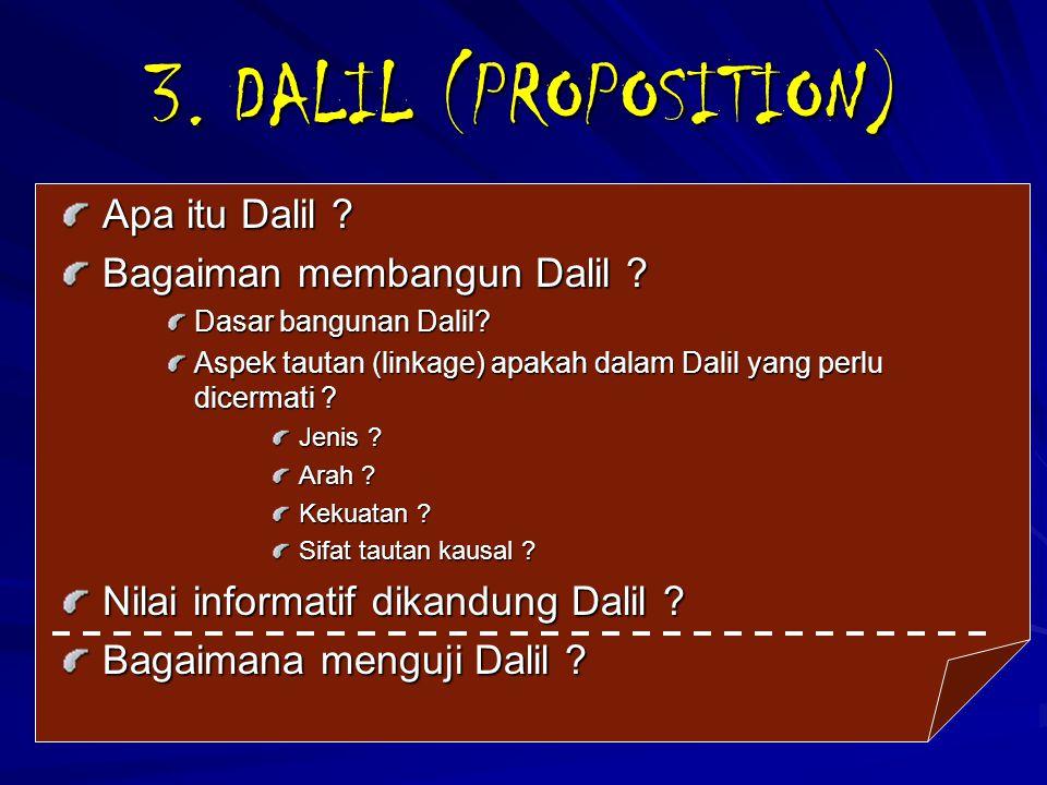 3. DALIL (PROPOSITION) Apa itu Dalil Bagaiman membangun Dalil