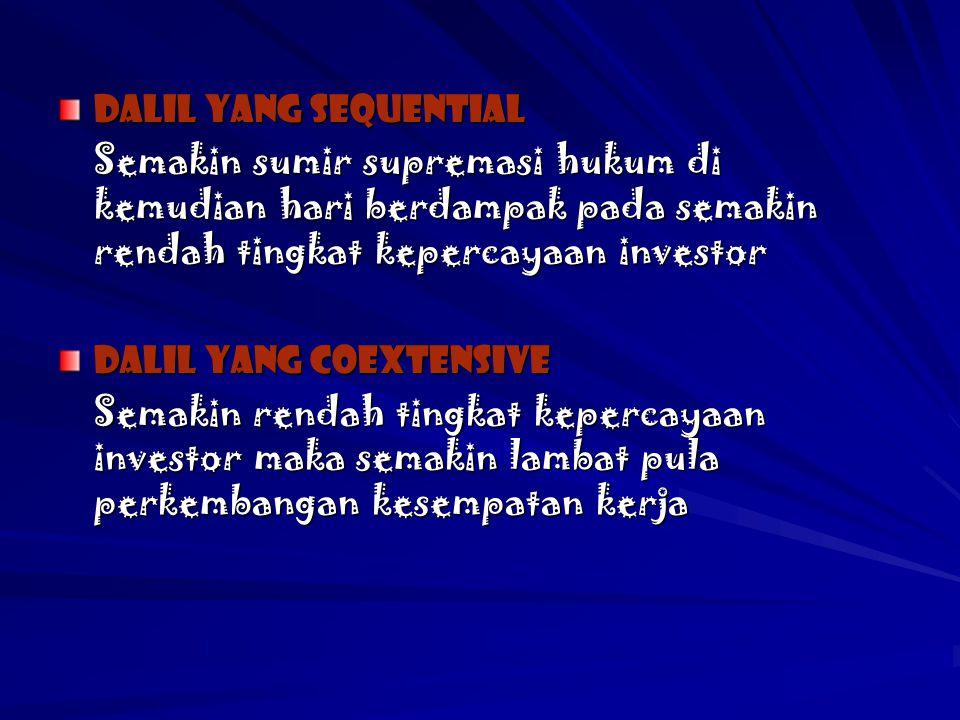 Dalil yang sequential Semakin sumir supremasi hukum di kemudian hari berdampak pada semakin rendah tingkat kepercayaan investor.