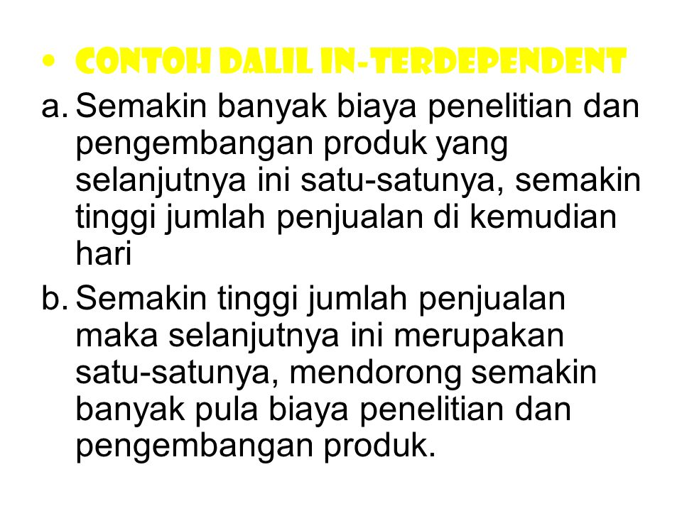Contoh dalil in-terdependent