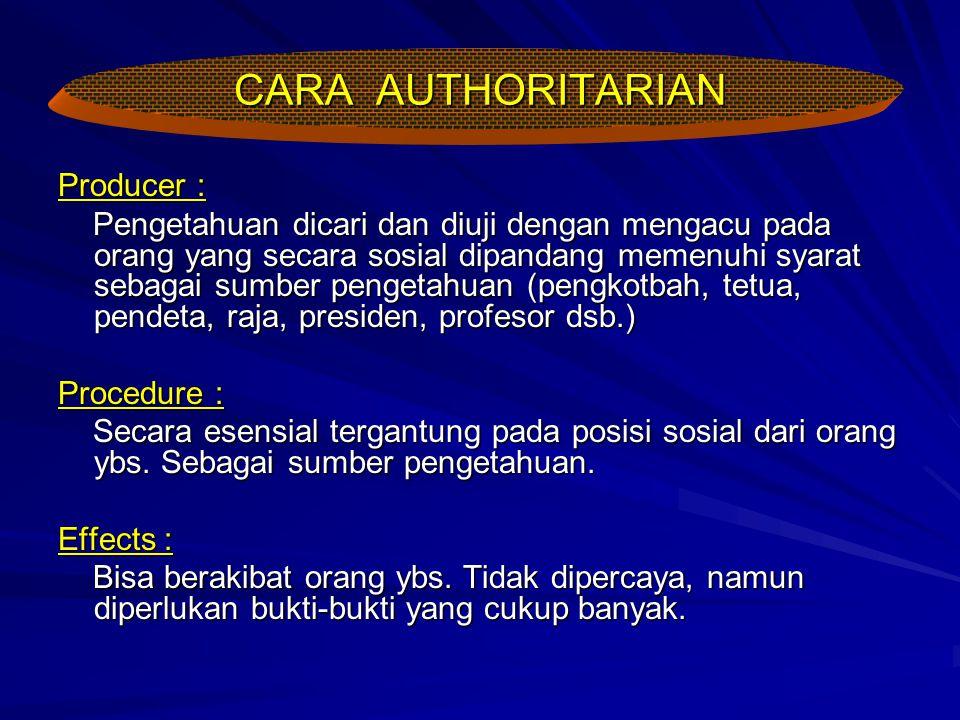 CARA AUTHORITARIAN Producer :