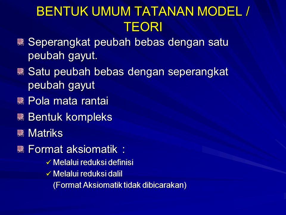 BENTUK UMUM TATANAN MODEL / TEORI
