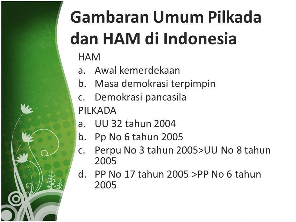 Gambaran Umum Pilkada dan HAM di Indonesia