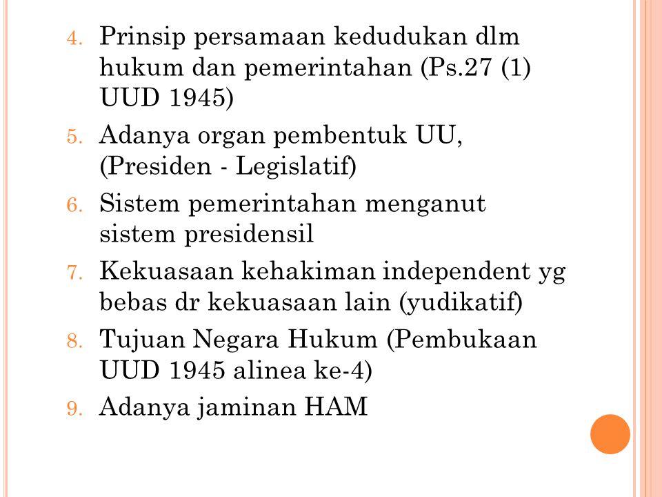 Prinsip persamaan kedudukan dlm hukum dan pemerintahan (Ps