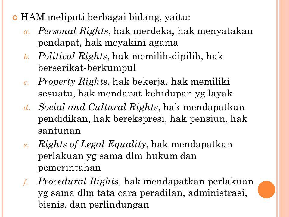 HAM meliputi berbagai bidang, yaitu: