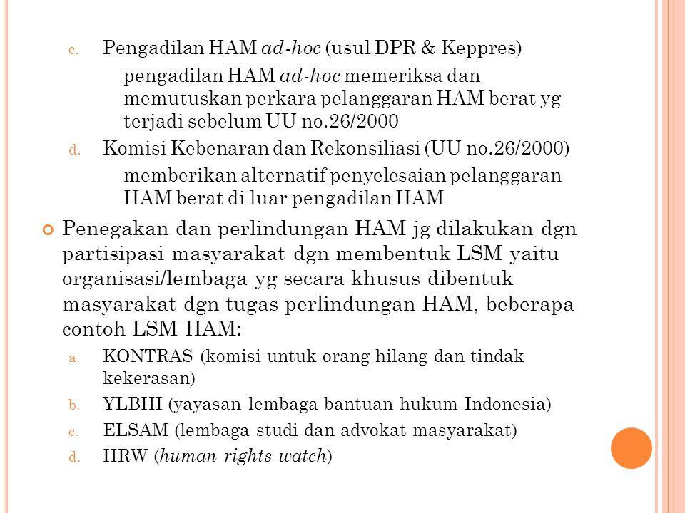 Pengadilan HAM ad-hoc (usul DPR & Keppres)