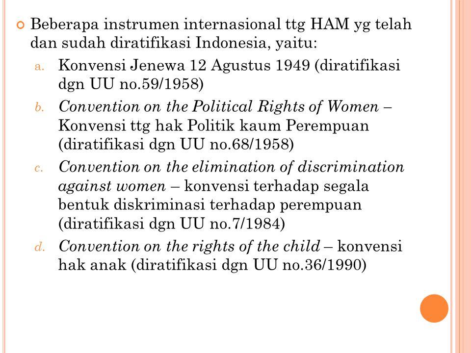 Beberapa instrumen internasional ttg HAM yg telah dan sudah diratifikasi Indonesia, yaitu: