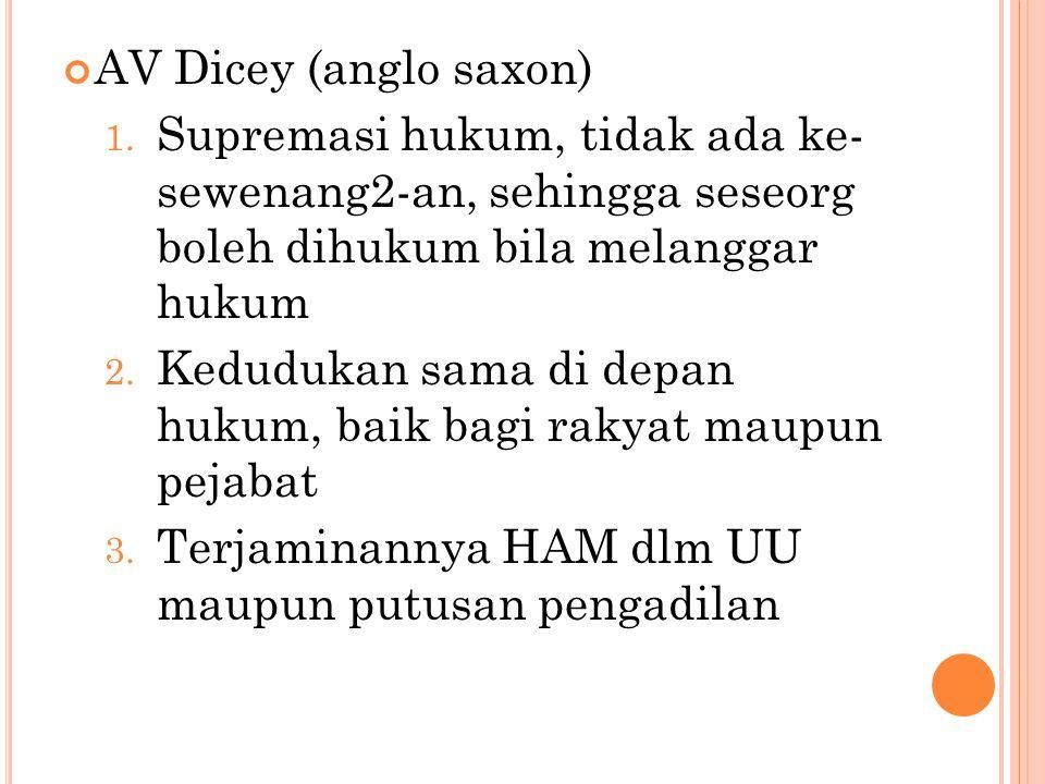 AV Dicey (anglo saxon) Supremasi hukum, tidak ada ke-sewenang2-an, sehingga seseorg boleh dihukum bila melanggar hukum.