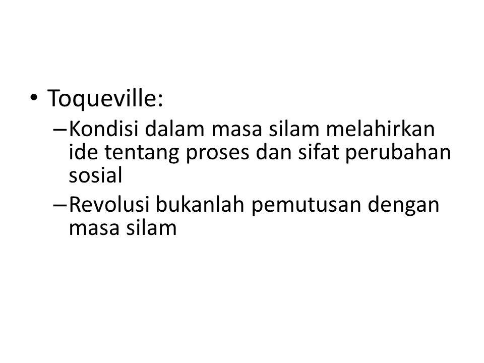 Toqueville: Kondisi dalam masa silam melahirkan ide tentang proses dan sifat perubahan sosial.
