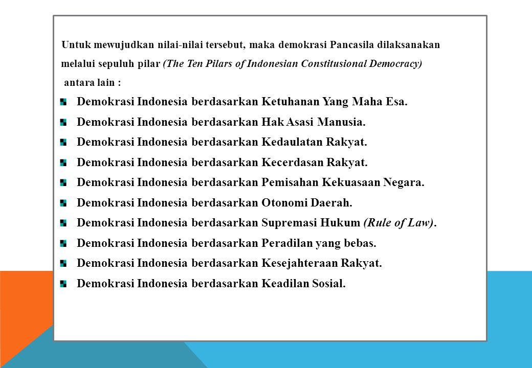 Demokrasi Indonesia berdasarkan Ketuhanan Yang Maha Esa.