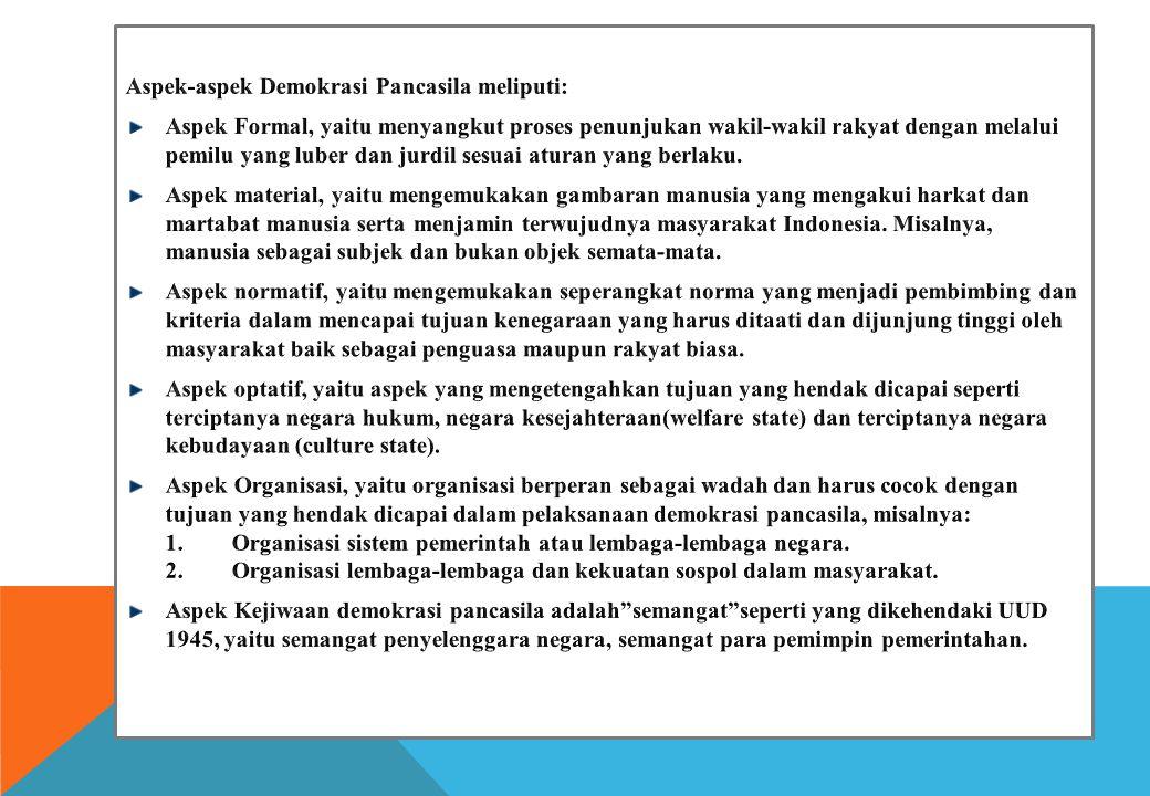 Aspek-aspek Demokrasi Pancasila meliputi: