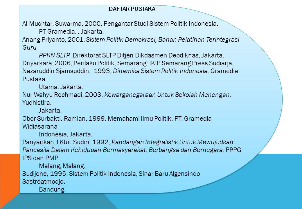 Al Muchtar, Suwarma, 2000, Pengantar Studi Sistem Politik Indonesia,