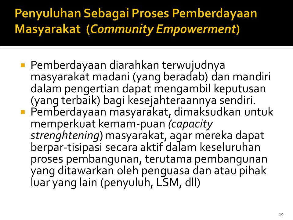 Penyuluhan Sebagai Proses Pemberdayaan Masyarakat (Community Empowerment)