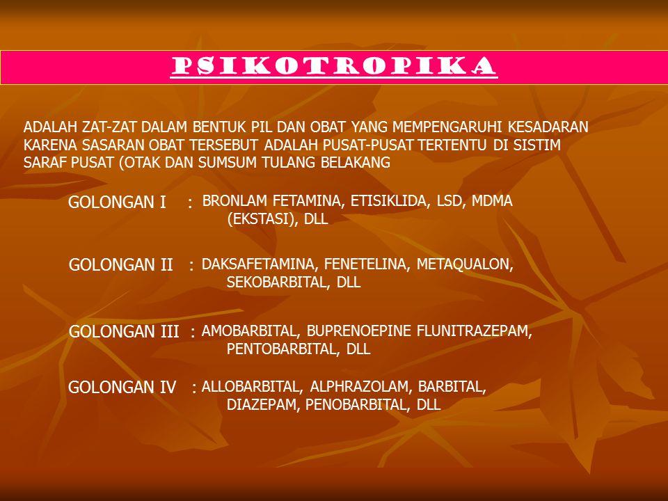 PSIKOTROPIKA GOLONGAN I : GOLONGAN II : GOLONGAN III : GOLONGAN IV :