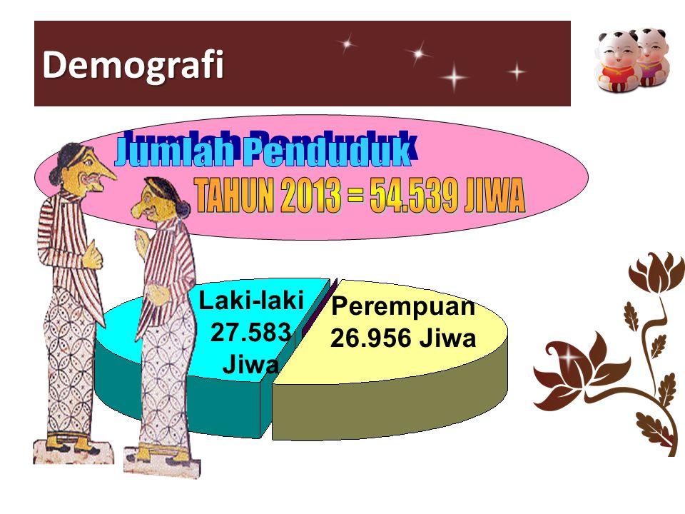 Demografi TAHUN 2013 = 54.539 JIWA Laki-laki Perempuan 27.583 Jiwa