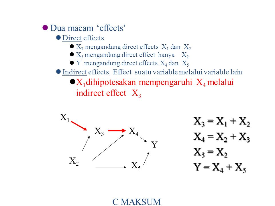X3 = X1 + X2 X4 = X2 + X3 X5 = X2 Y = X4 + X5 Dua macam 'effects'