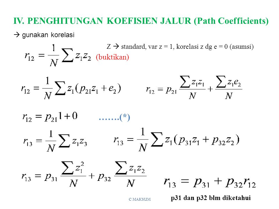 IV. PENGHITUNGAN KOEFISIEN JALUR (Path Coefficients)